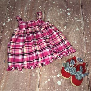 6-9M Girls Two Piece Set NWT Shoes And Dress